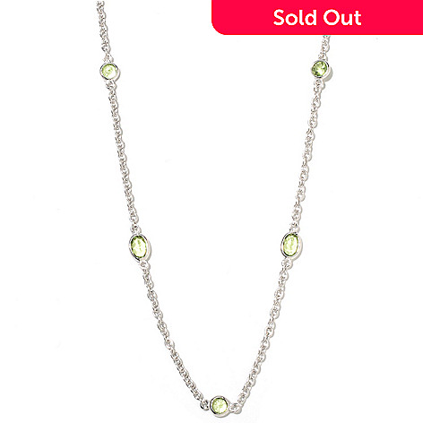 132-319 - Gem Insider® Sterling Silver 36'' Round & Oval Cut Gemstone Station Necklace