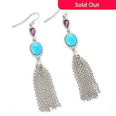 132-324 - Gem Insider® Sterling Silver 2.75'' Sleeping Beauty Turquoise & Gemstone Earrings