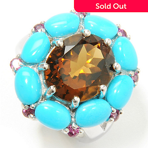 132-329 - Gem Insider® Sterling Silver Multi Gemstone & Sleeping Beauty Turquoise Ring