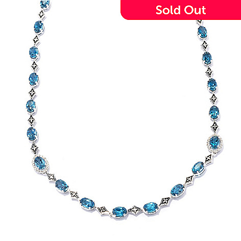 132-338 - Gem Treasures Sterling Silver 18'' 17.21ctw London Blue Topaz & Diamond Necklace