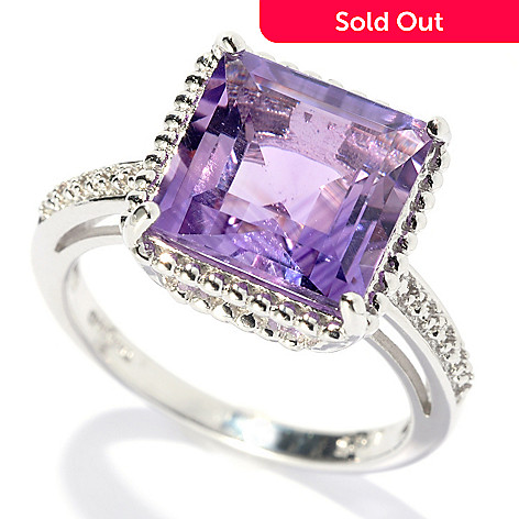132-339 - Gem Treasures® Sterling Silver 3.66ctw Square Amethyst Beaded Frame Ring