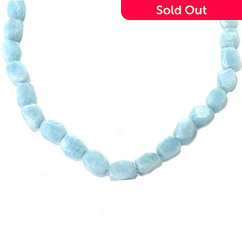 132-364 - Gem Treasures Sterling Silver 32'' Freeform Aquamarine Bead Toggle Necklace