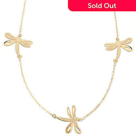 132-367 - Stefano Oro 14K Gold 18'' Dragonfly Station Necklace, 1.56 grams