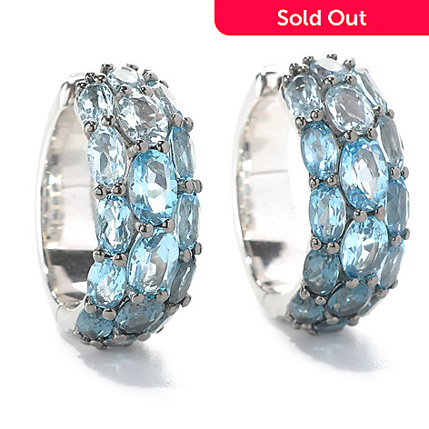 132-378 - Sterling Artistry by EFFY 8.98ctw Shades of Blue Topaz Huggie Hoop Earrings
