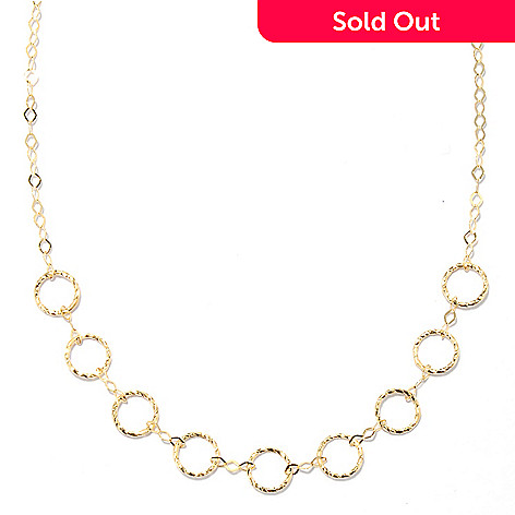 132-379 - Stefano Oro 14K Gold 18'' ''Cerchi Geo'' Textured Necklace, 1.47 grams
