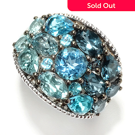 132-380 - Sterling Artistry by EFFY 6.05ctw Shades of Blue Topaz Ring