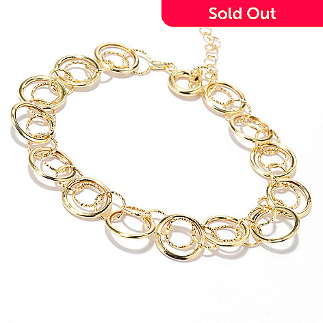 132-381 - Italian Designs with Stefano 14K Gold 7.5'' Circle Bracelet w/ 1'' Extender