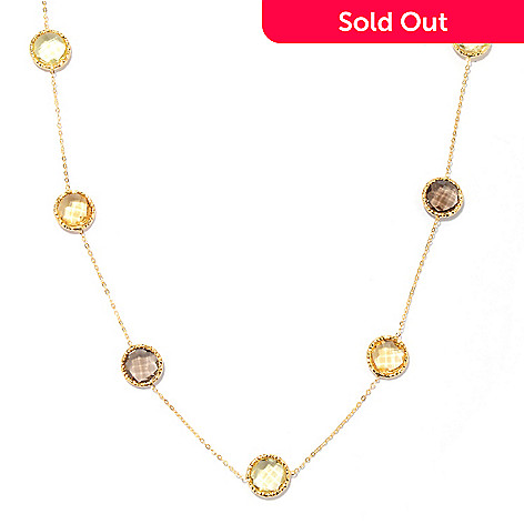 132-385 - Italian Designs with Stefano 14K Gold 24'' Multi Gemstone Sunrise Necklace