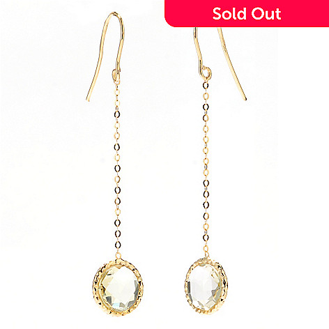 132-387 - Italian Designs with Stefano 14K Gold 2'' Lemon Quartz Sunrise Earrings