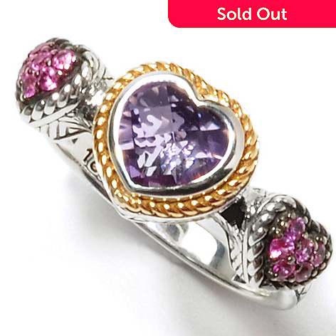 132-392 - Sterling Artistry by EFFY Amethyst & Pink Sapphire Triple Heart Ring