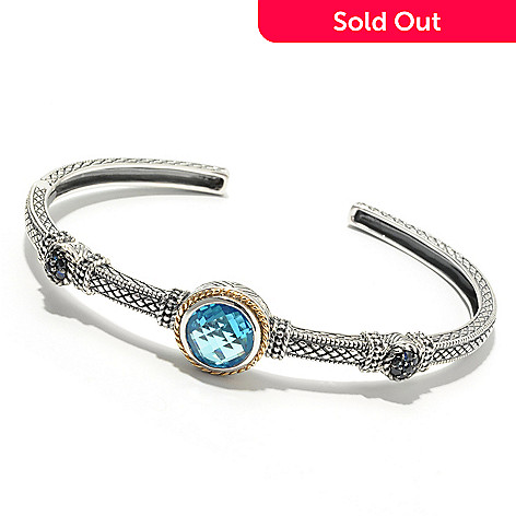 132-396 - Sterling Artistry by EFFY 6.75'' Blue Topaz & Sapphire Hinged Cuff Bracelet