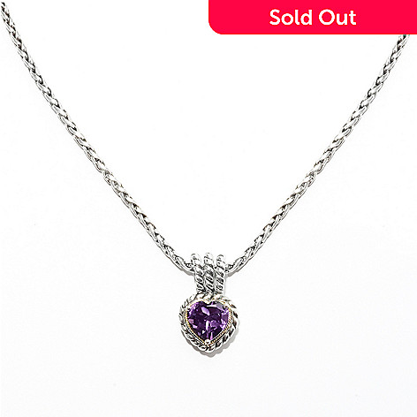 132-398 - Sterling Artistry by Effy 2.55ctw Amethyst Heart Pendant w/ 18'' Wheat Chain