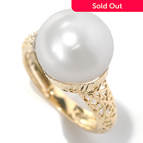 132-401 - Italian Designs with Stefano 14K Gold 13-13.5mm Freshwater Cultured Pearl Piccole Gioie Ring