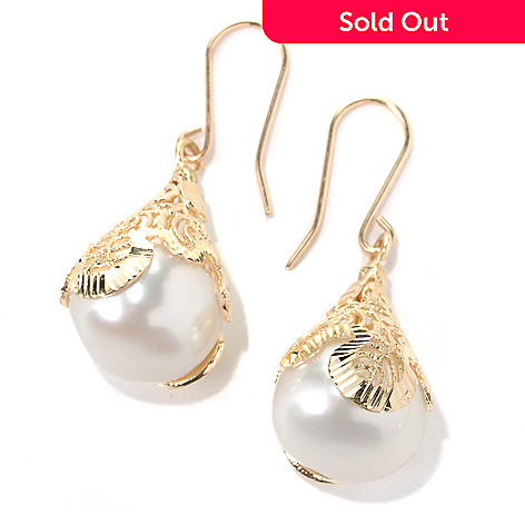 132-402 - Italian Designs with Stefano 14K Gold 1.25'' 12-12.5mm Cultured Pearl Drop Earrings