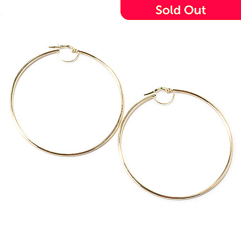 132-406 - Italian Designs with Stefano 14K Gold 2'' Polished Hoop Earrings