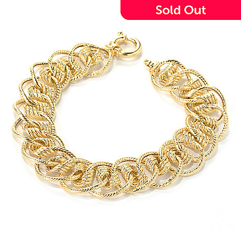 132-408 - Italian Designs with Stefano 14K Gold 7.75'' Dream Elegance Textured Bracelet