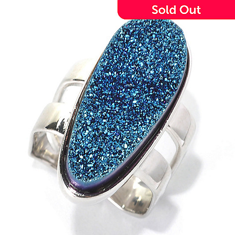 132-418 - Gem Insider™ Sterling Silver 26 x 11mm Blue Freeform Drusy Square Shank Ring