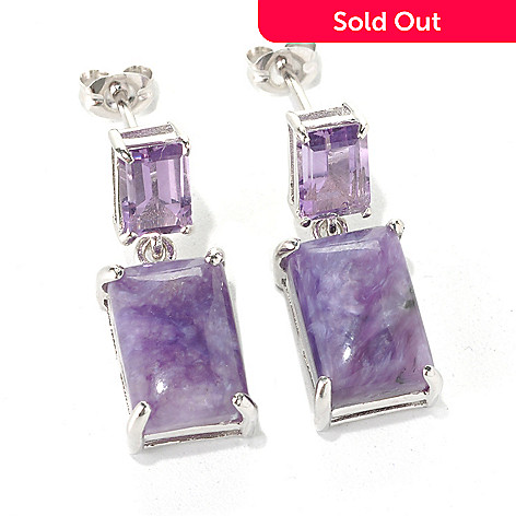 132-420 - Gem Insider® Sterling Silver 12 x 8mm Charoite & Amethyst Double Drop Earrings