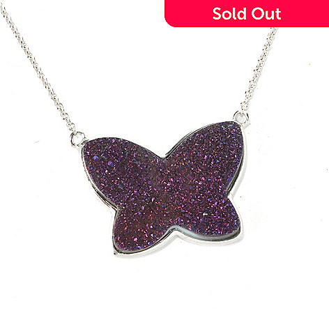 132-423 - Gem Insider™ Sterling Silver 18'' 24 x 18mm Purple Drusy Butterfly Necklace