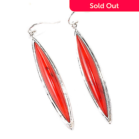 132-424 - Gem Insider Sterling Silver 2.25'' Marquise Cut Red Bamboo Coral Drop Earrings