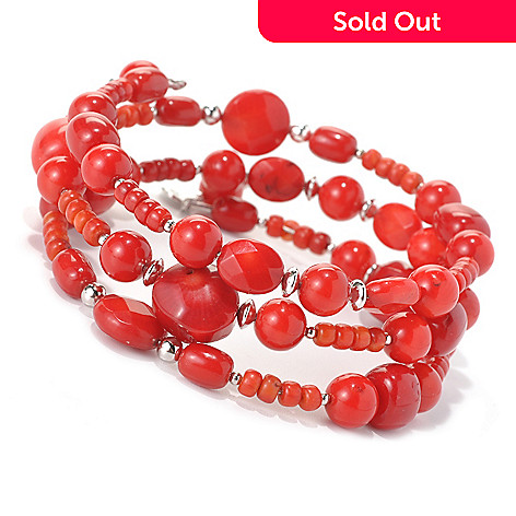 132-425 - Gem Insider™ Sterling Silver 36'' Red Bamboo Coral Wrap-Around Bead Bracelet