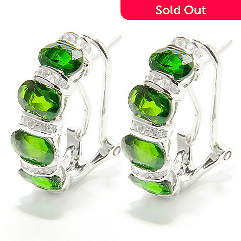 132-428 - NYC II™ 4.23ctw Chrome Diopside & White Zircon Earrings w/ Omega Backs
