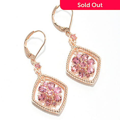 132-431 - NYC II 1.5'' 2.32ctw Pink Tourmaline & White Zircon Flower Drop Earrings