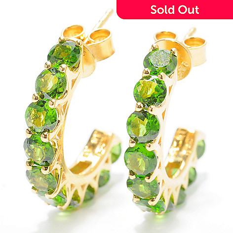 132-432 - NYC II 1'' 5.00ctw Chrome Diopside 10-Stone C-Hoop Earrings
