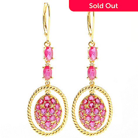 132-433 - NYC II Precious Gemstone & White Zircon Oval 2'' Drop Earrings