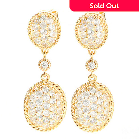 132-434 - NYC II 1.25'' 2.73ctw White Zircon Double Oval Drop Earrings