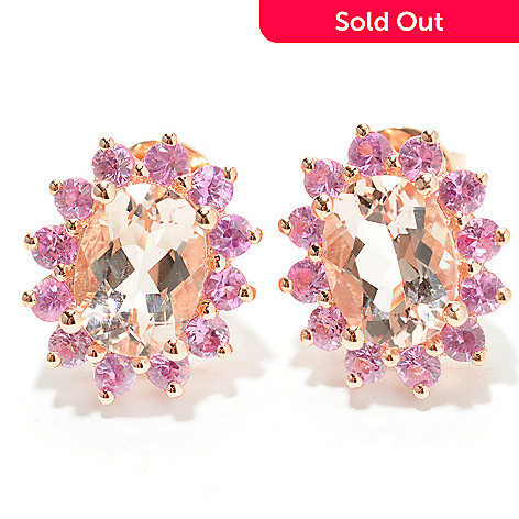 132-435 - NYC II® 3.20ctw Peach Morganite & Pink Sapphire Stud Earrings