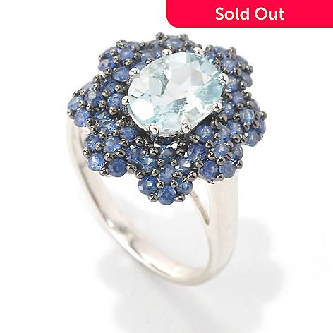 132-438 - NYC II™ 2.01ctw Aquamarine & Sapphire Flower Ring
