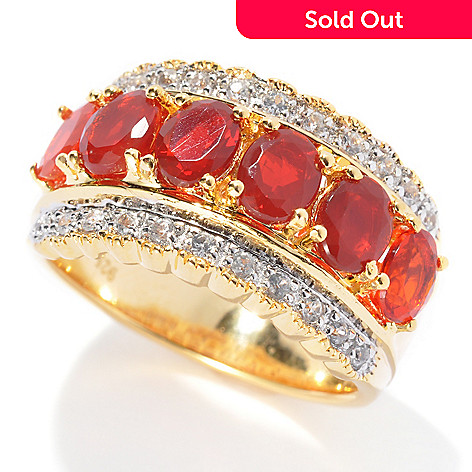 132-439 - NYC II 1.58ctw Fire Opal & White Zircon Band Ring