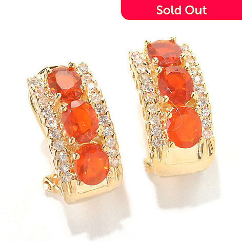 132-440 - NYC II® 1.93ctw Fire Opal & White Zircon C-Hoop Earrings w/ Omega Backs