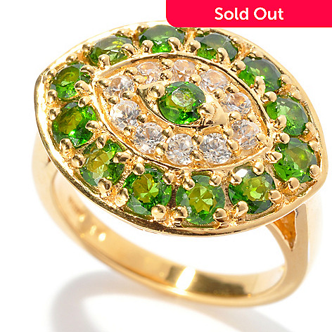132-441 - NYC II 2.19ctw Chrome Diopside & White Zircon ''Evil Eye'' Ring