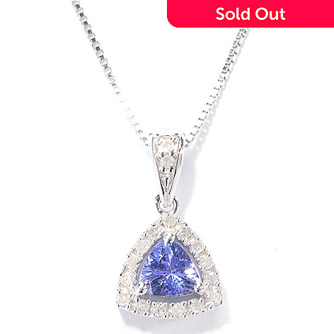 132-444 - Gem Insider™ Sterling Silver Trillion Tanzanite & Diamond Pendant w/ 18'' Chain