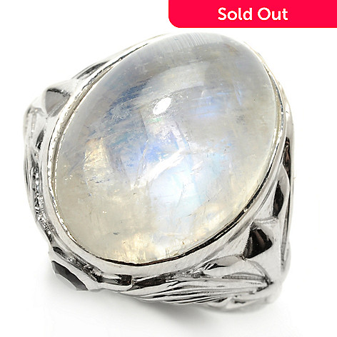 132-449 - Dallas Prince Sterling Silver 18 x 13mm Oval Rainbow Moonstone & Amethyst Ring