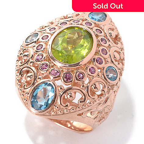 132-450 - Dallas Prince 4.00ctw Peridot, Rhodolite & Swiss Blue Topaz Domed Marquise Ring