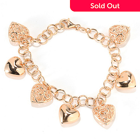132-453 - Portofino Gold Embraced™ 8'' Polished & Filigreed Heart Charm Bracelet
