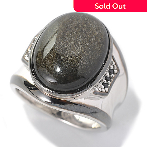 132-454 - Men's en Vogue 20 x 15mm Black Obsidian & Black Spinel Polished Ring