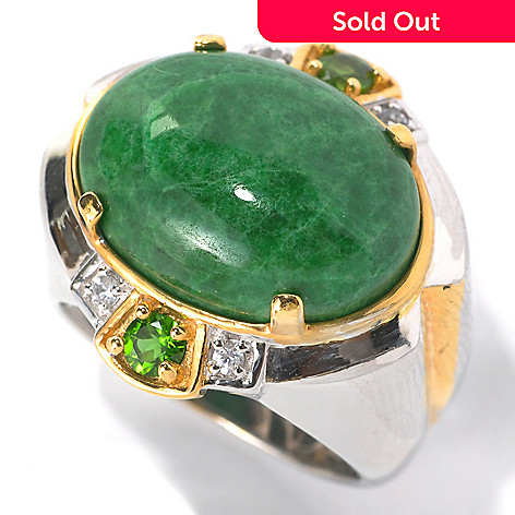 132-456 - Men's en Vogue II 20 x 15mm Maw Sit Sit, White Sapphire & Chrome Diopside Ring