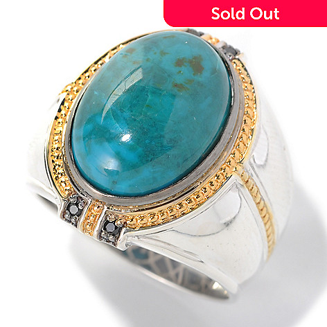 132-457 - Men's en Vogue 18 x 13mm Chrysocolla & Black Spinel Polished Ring