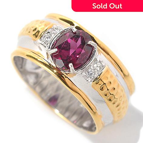 132-458 - Men's en Vogue 1.59ctw Rhodolite Garnet & White Sapphire Hammered Ring