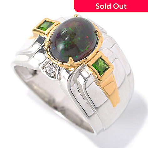 132-463 - Men's en Vogue 10 x 8mm Smoked Black Opal, Chrome Diopside & White Sapphire Ring