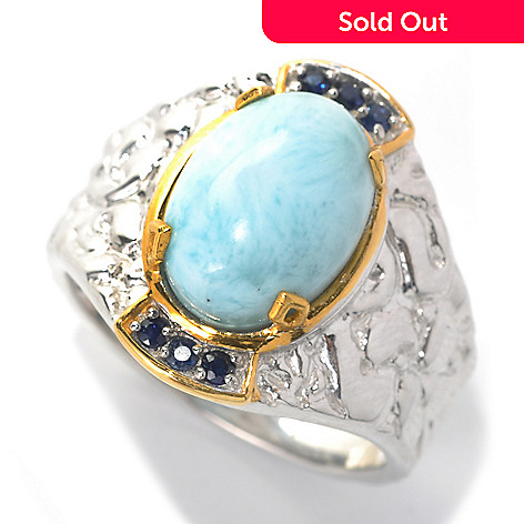132-464 - Men's en Vogue 14 x 10mm Larimar & Sapphire Textured Ring