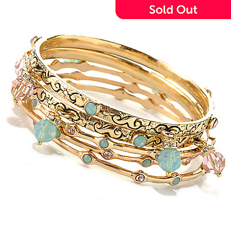 132-466 - Sweet Romance™ Set of Five 7.5'' Crystal & Glass Bead Bangle Bracelets