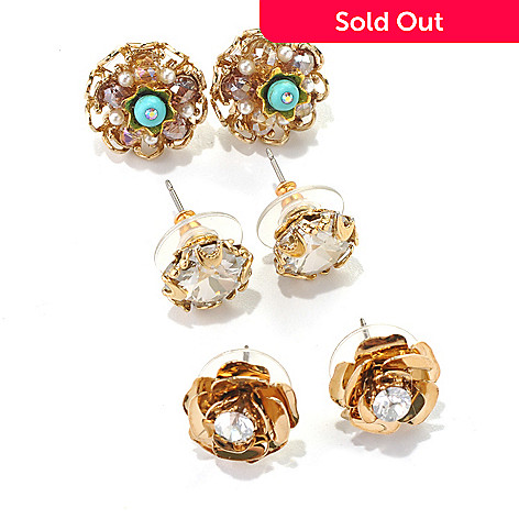 132-467 - Sweet Romance™ Set of Three ''Rose Garden'' Stud Earrings