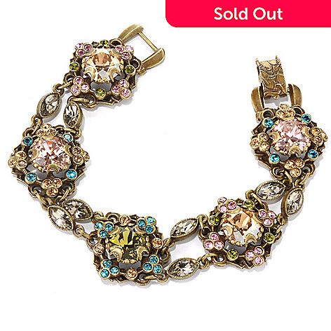 132-471 - Sweet Romance™ 7.5'' Cushion Shaped Multi Crystal Bracelet
