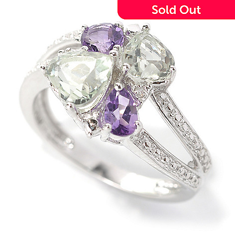 132-481 - Gem Insider Sterling Silver 1.67ctw Amethyst, Prasiolite & Diamond Wave Ring