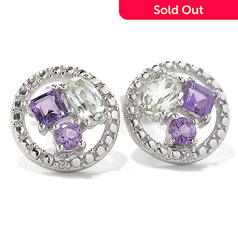 132-482 - Gem Insider™ Sterling Silver 1.71ctw Amethyst, Prasiolite & Diamond Earrings
